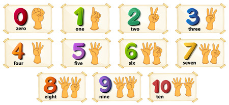 digit 3: Illustration of a set of number 1 to 10 Illustration