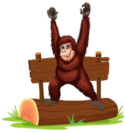 grass close up: Illustration of an orangutan standing on a log
