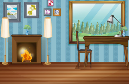 cartoon fireplace: Illustration of a study room with fireplace Illustration