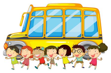 Illustrazione di molti bambini e uno scuolabus