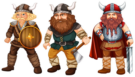 Illustration of many male vikings with weapons