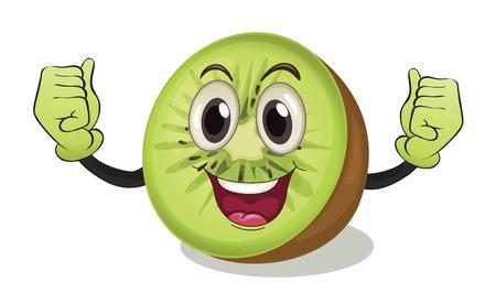 kiwi fruit: Ilustraci�n de una fruta de kiwi con los brazos Vectores