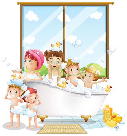 Illustrazione di molti bambini prendendo un bagno