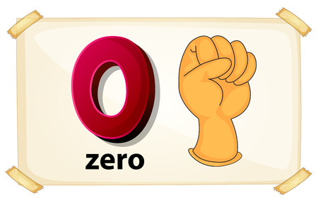 Illustration of a flash card number zero Illustration