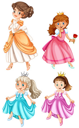 Illustration of many princesses Vector