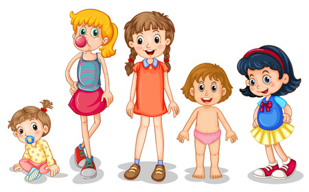 elementary age: Illustration of different stages of girls Illustration