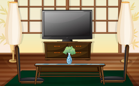tv room: Illustration of a living room with television
