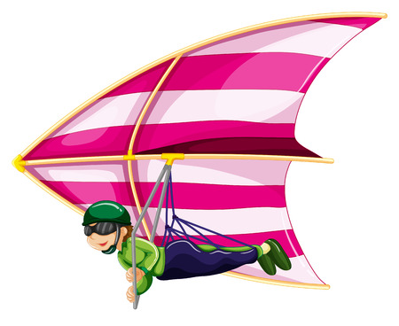 freetime activity: Illustration of a man doing hang glider