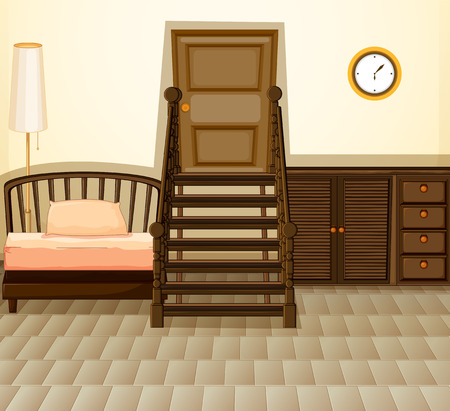 Illustration of a room with furniture Vector