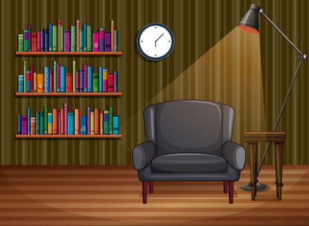 Illustration of a study room with books Vector