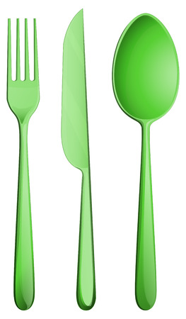 Illustration of a set of fork, spoon, and knife Vector