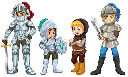 cartoon knight: Illustration of many knights with swords