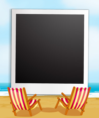 writing chair: Illustration of a photo frame with beach view