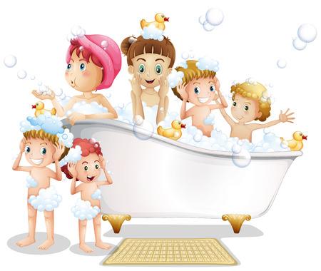 bath time: Illustration of many children taking a bath