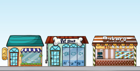 Illustration of many shops on the street Vector