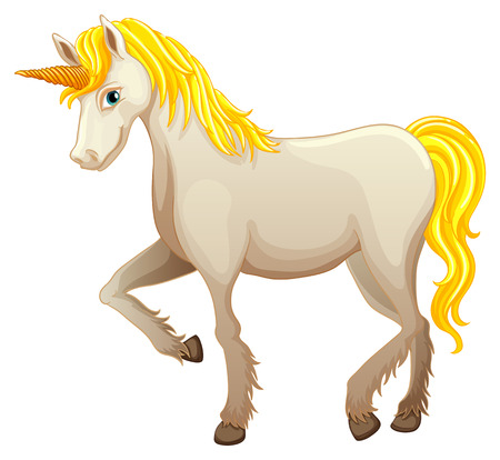 Illustration of a white unicorn Vector