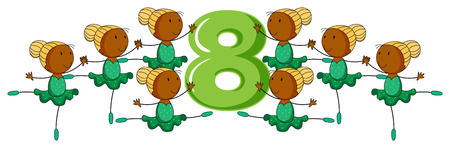 numbers: Illustration of a flashcard number eight Illustration