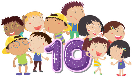 numbers clipart: Illustration of a flashcard number ten