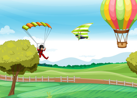 Illustration of people doing parachute Vector