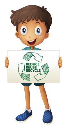greenhouse effect: Illustration of a boy with a recycling sign