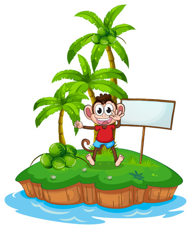 scratching: Illustration of a monkey on an island