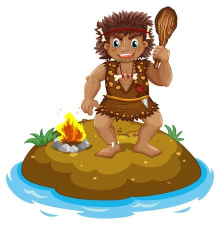 Illustration of a caveman on an island Vector