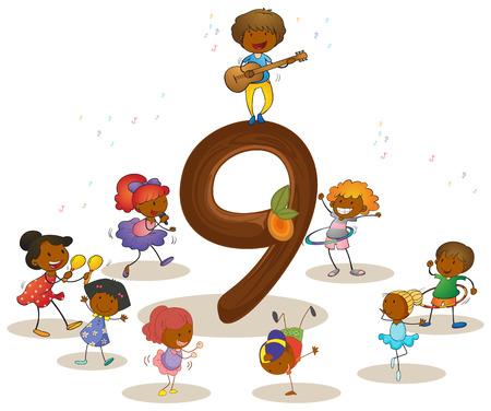 numbers: Illustration of a flashcard number nine