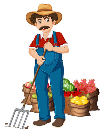 Illustration of a farmer and vegetables