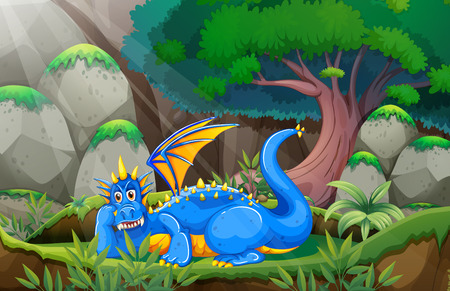 Illustration of a dragon in a deep forest