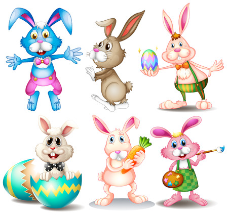 cartoon rabbit: Illustration of many easter rabbits
