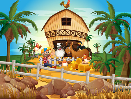 Illustration of a farmer and many animals Vector