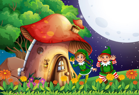 Illustration of elf and a mushroom house