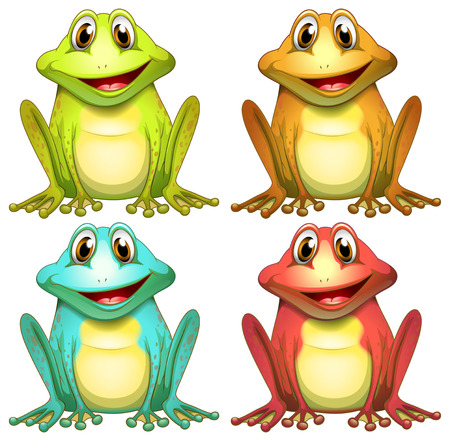 exotic frog: Illustration of different color frogs Illustration