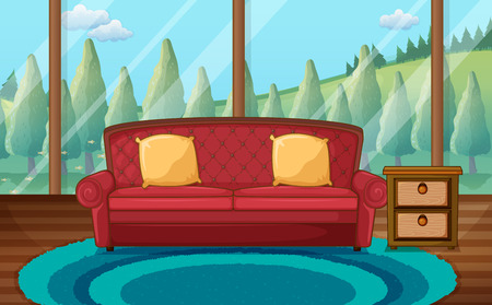 family living room: Illustration of a classic living room