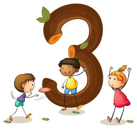 numbers: Illustration of a flashcard number three Illustration