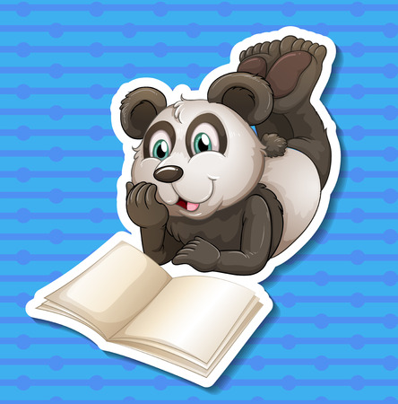 Illustration of a panda with blue background Vector