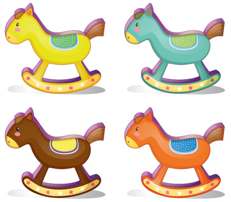 Illustration of a set of rocking horses