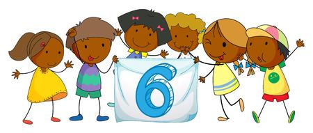 number 6: Illustration of a flashcard number six