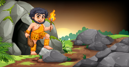 Illustration of a caveman standing in front of a cave Vector