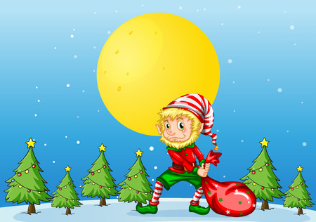 Illustration of an elf pulling a christmas bag Vector