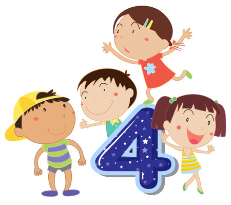 numbers clipart: Illustration of a flashcard number four
