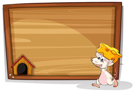 house mouse: Illustration of a mouse carrying cheese Illustration