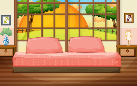 lawn furniture: Illustration of a bedroom with a view Illustration