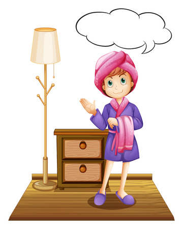 bathrobe: Illustration of a girl in a bathrobe