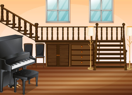 upstairs: Illustration of a piano in a living room