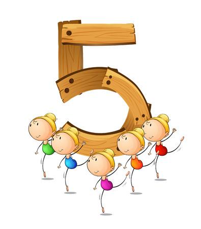 numbers: Illustration of a flashcard number five Illustration