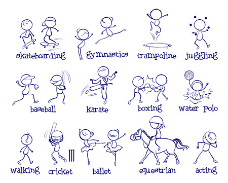 Illustration of a set of different sports Vector