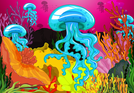 jelly fish: Illustration of jelly fish underwater