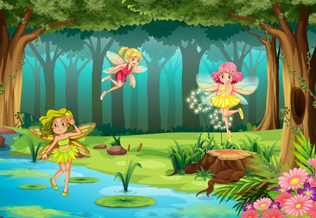 pond water: Illustration of fairies flying in the jungle Illustration