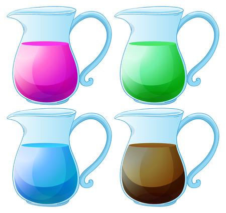 water jug: Illustration of different kind of juice Illustration